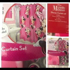 Minnie Mouse Shower Curtain set with hooks 72x72""